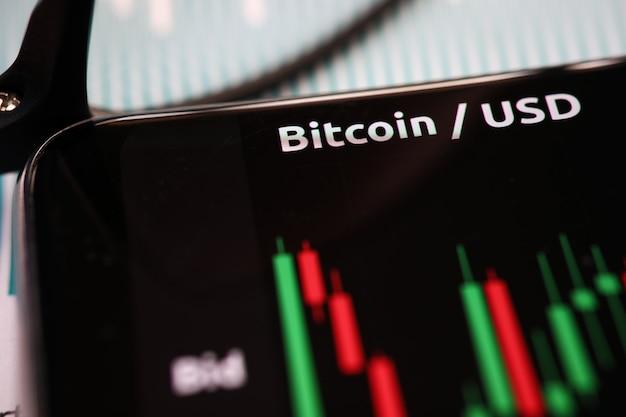 Gros plan du mouvement de tendance d'analyse bitcoin