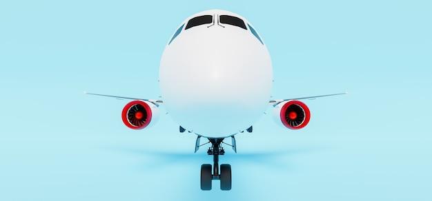 Gros plan du nez d'un avion de ligne sur bleu