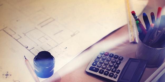 Gros plan du plan de mise en page de l'architecture du plan directeur
