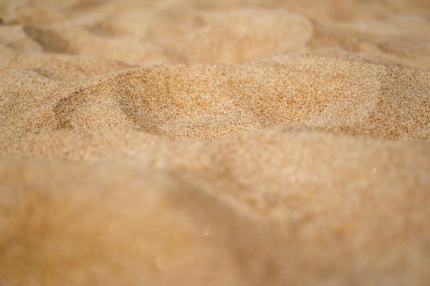 Gros plan du rivage de sable avec mer floue