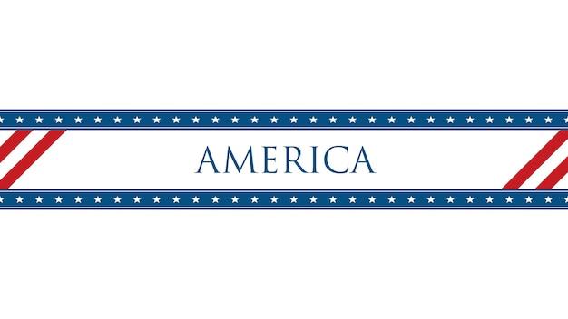 Gros plan du texte amérique sur fond de vacances, journée de la nation des états-unis. modèle de style d'illustration 3d de luxe et élégant pour carte de vœux