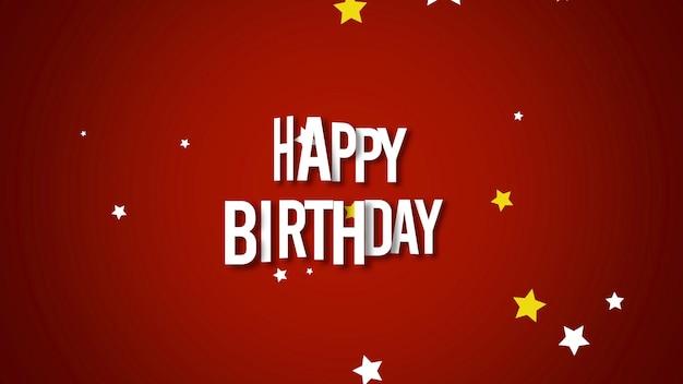 Gros plan du texte joyeux anniversaire avec des confettis sur fond de vacances rouge. modèle de style dynamique de luxe et élégant pour carte de vœux, illustration 3d