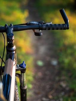 Gros plan du vélo de montagne dans la forêt au coucher du soleil avec fond