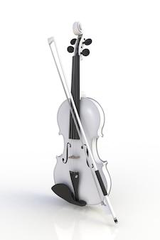 Gros plan du violon blanc classique avec archet isolé sur fond blanc