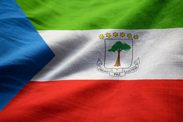 Gros plan, de, ébouriffé, drapeau équatorial, guinée, équatorial, drapeau, souffler, dans, vent