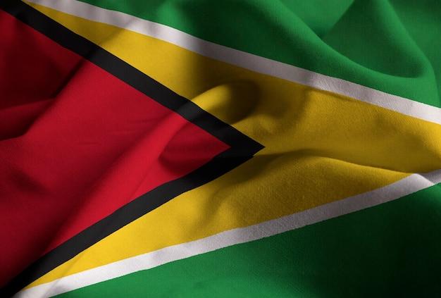 Gros plan, de, ébouriffé, guyana, drapeau, guyana, drapeau, souffler, dans, vent