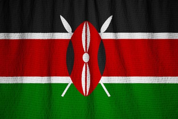 Gros plan, de, ébouriffé, kenya drapeau, kenya, drapeau, souffler, dans, vent