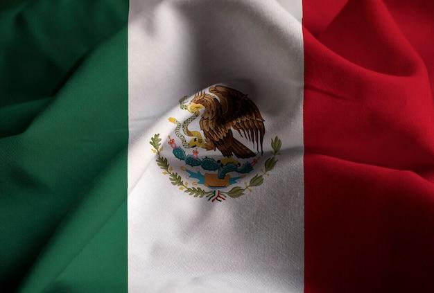 Gros plan, de, ébouriffé, mexique, drapeau, mexique, drapeau, souffler, dans, vent
