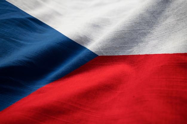 Gros plan, de, ébouriffé, république tchèque, drapeau, république tchèque, drapeau, souffler, dans, vent