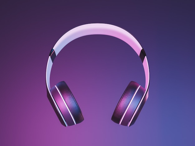 Gros plan sur des écouteurs sans fil suspendus dans les airs avec éclairage au néon. rendu 3d