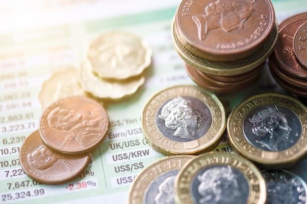 Gros plan d'empilement de pièces de monnaie sterling sur le taux de change du journal