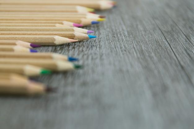 Gros plan, ensemble, crayons