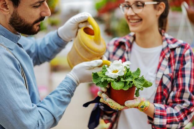 Gros plan des entrepreneurs en prenant soin des fleurs. femme tenant des fleurs pendant que l'homme l'arrose.