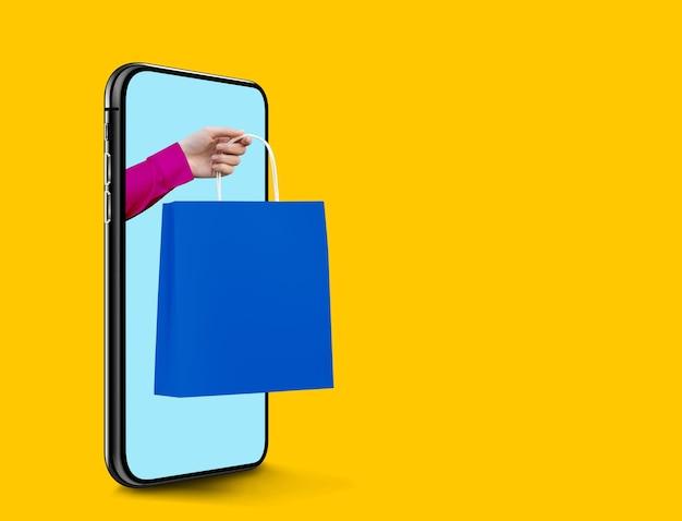 Gros plan sur l'envoi de panier à partir d'un téléphone mobile