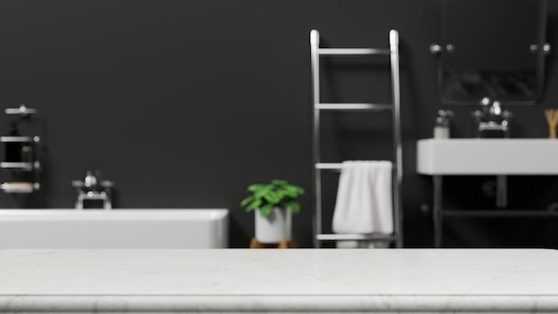 Gros plan, espace de maquette pour l'affichage du produit de montage sur une table en pierre de marbre avec une salle de bain intérieure élégante ou minimaliste en noir et blanc en arrière-plan, rendu 3d, illustration 3d