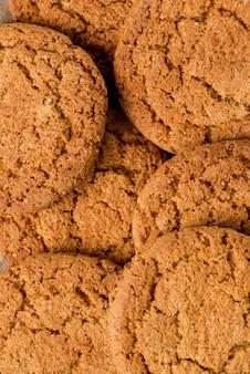 Gros plan extrême biscuits vue de dessus