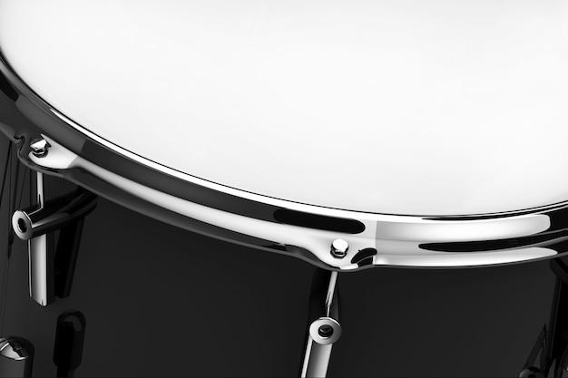 Gros plan extrême noir professionnel rock drum snare. rendu 3d