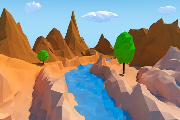Gros plan extrême de paysage de style de polygones bas à la mode. rendu 3d