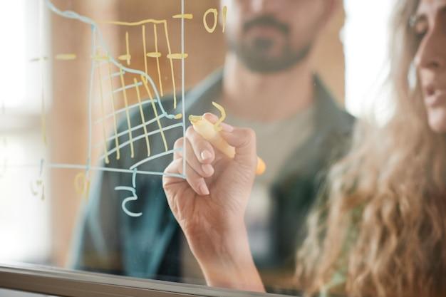 Gros plan d'une femme d'affaires dessinant un graphique sur un mur de verre et en discutant avec son collègue de bureau
