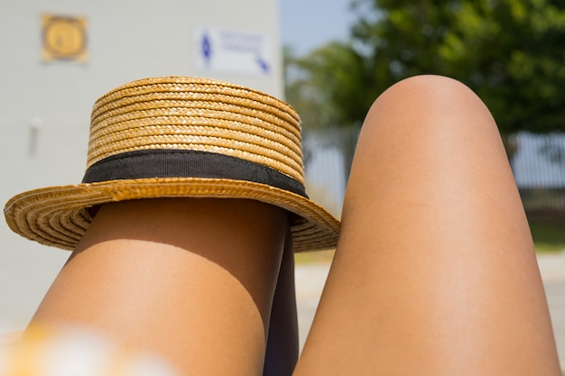 Gros plan, femme, jambes