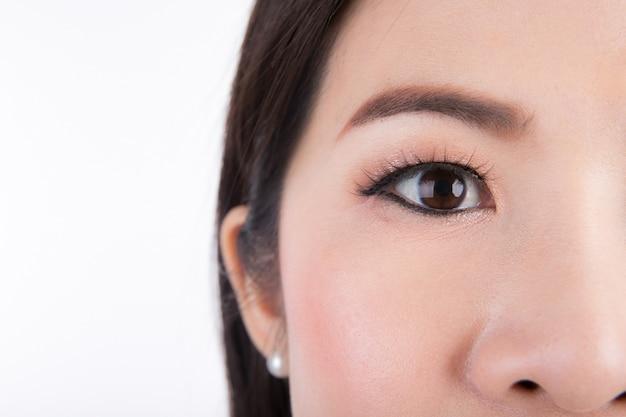 Gros plan de la femme oeil