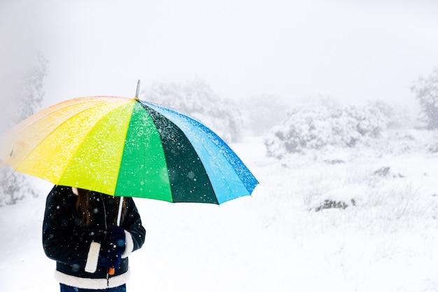 Gros plan d'une femme avec un parapluie coloré marchant dans la forêt lors d'une chute de neige.