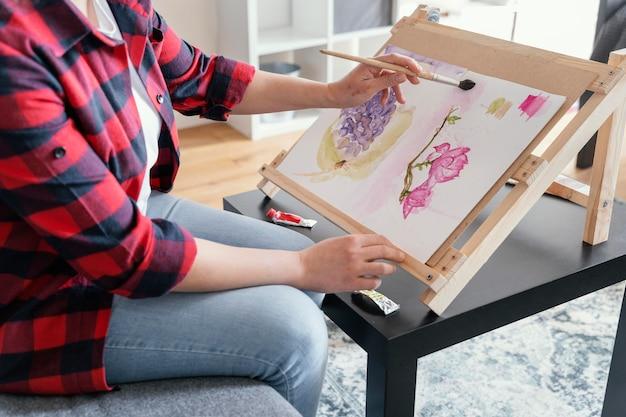 Gros plan, femme, peinture