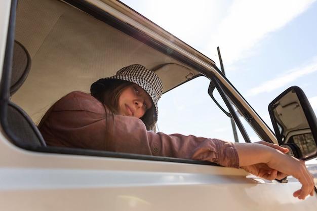 Gros plan, femme, porter, chapeau