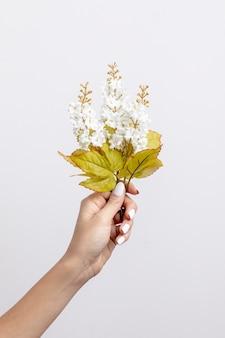 Gros plan, femme, tenue, blanc, fleurs
