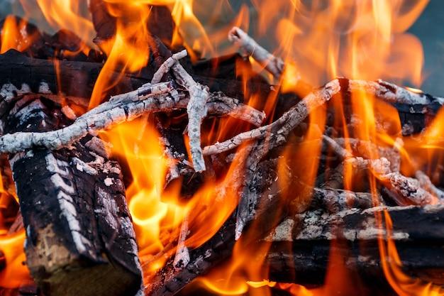 Gros plan d'un feu en plein air brûlant