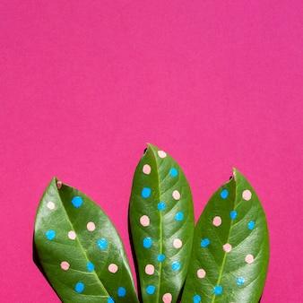 Gros plan des feuilles avec des points et copie espace fond