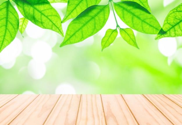 Gros plan feuilles vertes fraîches avec terrasse en bois à l'arrière-plan du parc