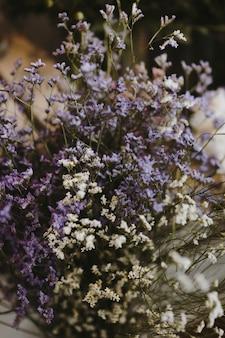 Gros plan de fleurs de caspia blanches et violettes