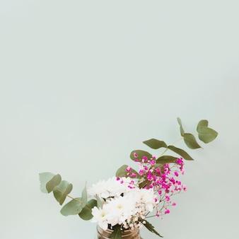 Gros plan, fleurs, vase, contre, fond coloré
