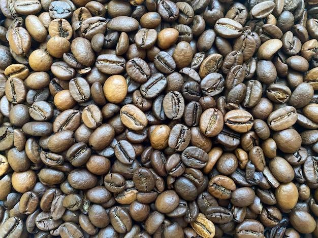 Gros plan de fond de grain de café texture de grains de café