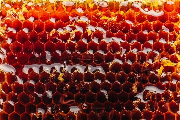 Gros plan de fond en nid d'abeille doré doux