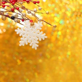 Gros plan de fond de noël avec un flocon de neige