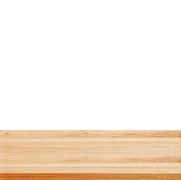 Gros plan fond de studio en bois transparent sur fond blanc - bien utilisé pour les produits actuels.