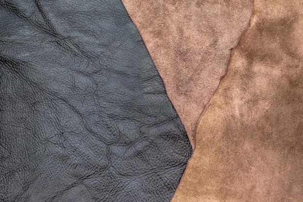 Gros plan fond de texture cuir froissé marron foncé, division des tissus