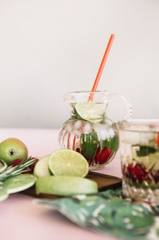 Gros plan, de, frais, sain, fruits, et, jus
