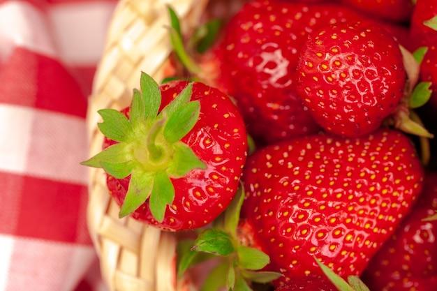 Gros plan de fraises mûres fraîches