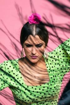 Gros plan, franges, châle, manila, à, danseur flamenco