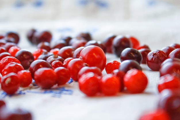 Gros plan de fruits rouges mûrs sur une table