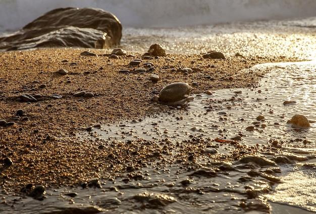 Gros plan de galets de mer au coucher du soleil.