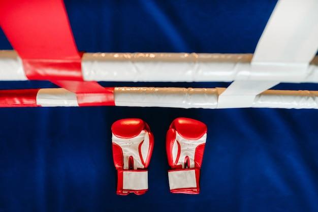 Gros plan sur des gants de boxe rouges sur le sol d'un ring de boxe bleu.