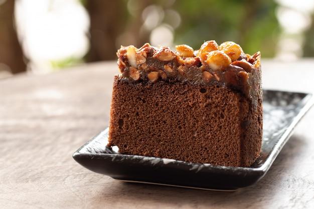 Gros plan, de, gâteau caramel, sur, bureau bois, dans, café-restaurant