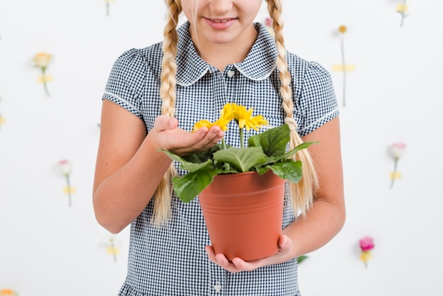 Gros plan, girl, fleur, pot