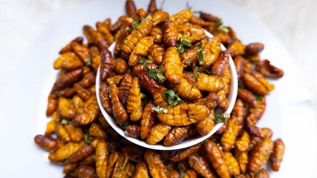 Gros plan goût huileux et vers à soie salés insecte ver alimentaire insecte à manger