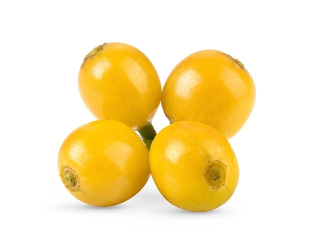 Gros plan sur les grains de café jaunes isolés