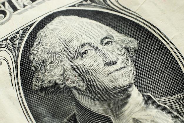 Gros plan grand angle d'un billet d'un dollar
